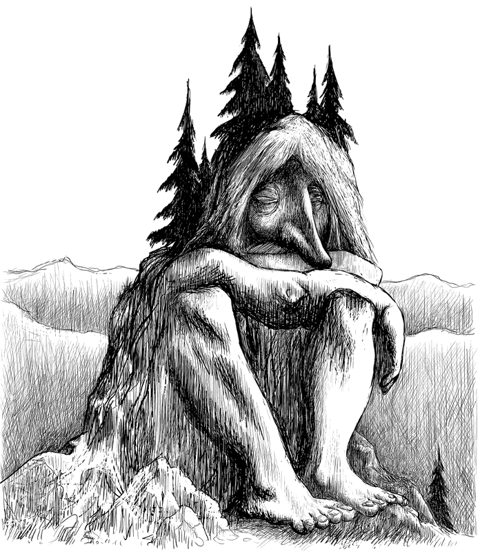 Troll becoming a mountain. Public domain