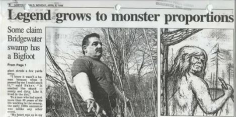 Boston Herald article on John Baker's Bigfoot encounter