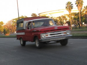 A truck drives fast in Mexico.