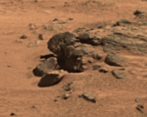 The human-looking rock stands near the Gusev crater. Credit: NASA/Gigapan