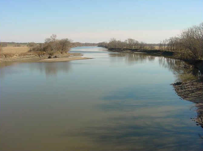 Water flows through the 527 mile-long Des Moines River