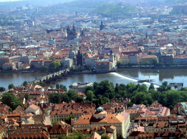 The city of Prague, standing still by the Vlatava River.